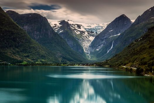 Briksdalsbreen, Briksdal glacier, Jostedalsbreen National Park, Stryn, norway, Briksdal Glacier, Jostedalsbreen National Park, Stryn, Norway, lake, Mountains