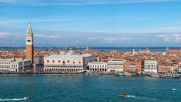 Venice, Italy, Grand Canal, Piazza San Marco, St Mark's Campanile, Doge's Palace, Venice, Italy, Grand Canal, St. Mark's Square, St Mark's Campanile, Palace of the Doges, channel, embankment, building, palace, tower, belfry, Single