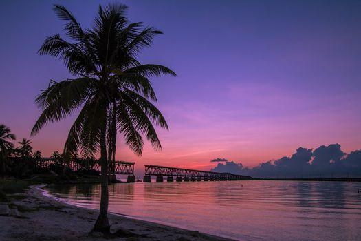 Bahia Honda State Park, Old Bahia Honda Railroad Bridge, Bahia Honda Park, Florida, sunset, landscape
