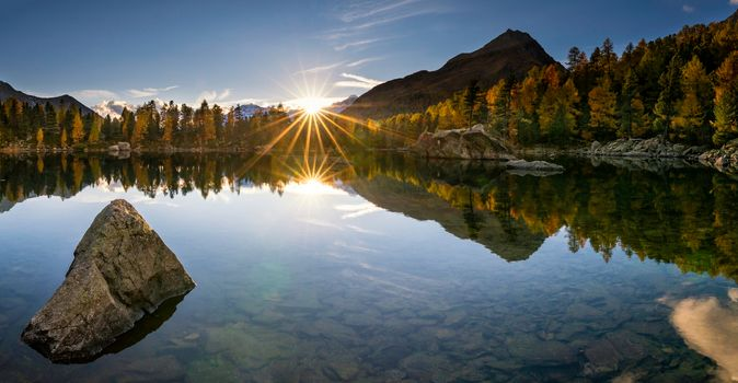 Lago di Saoseo, Val di Campo, Poschiavo, Switzerland, Val di Campo, Poschiavo, Shaeytsariya, lake, sunset, autumn, Mountains, reflection, stones, bottom
