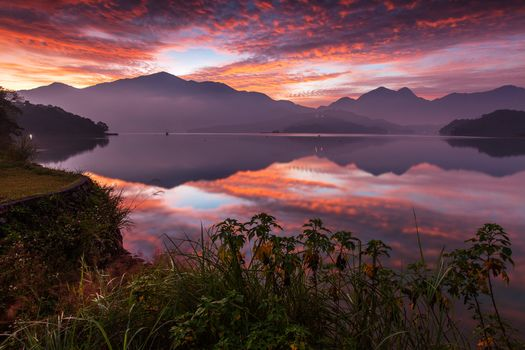 Sun Moon Lake, Lake Candidus, Yuchi, Taiwan, China, Sun Moon Lake, Yuchi, Taiwan, China, lake, sunset, Mountains, reflection