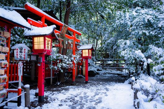 Nonomiya Shrine, Torii gate, Kyoto, japan, Temple Nonomiya, Torii, Kyoto, Japan, temple, gates, lights, winter, snow