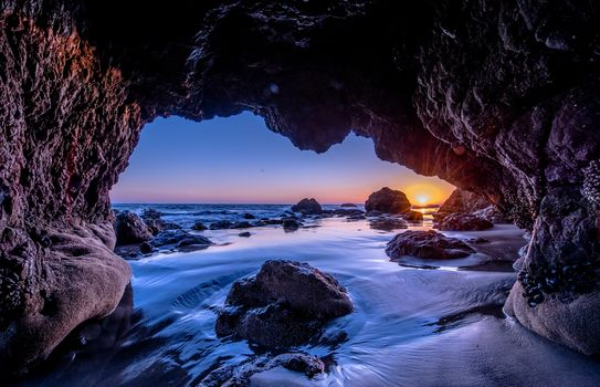 Malibu, sunset, sunset, sea, Rocks, arch, landscape