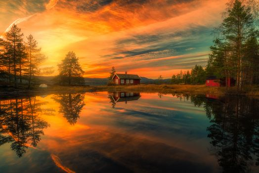Ringerike, norway, Ringerike, Norway, lake, reflection, home, sunset, trees