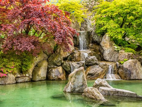 autumn, park, pond, stones, waterfall, landscape