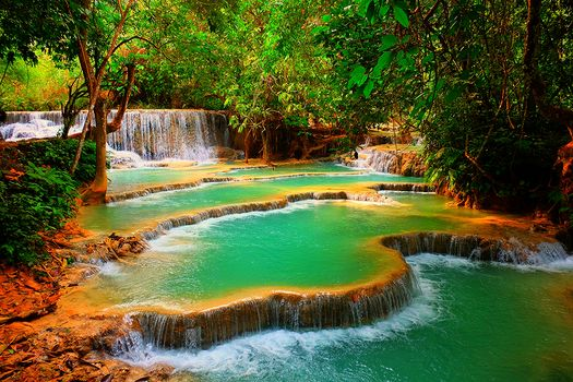 Kuang Si Waterfall, Laos, waterfall, forest, trees, Rocks, nature