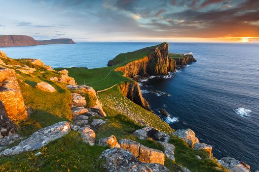 Neist Point, lighthouse, Island of skye, Inner Hebrides, Scotland, GB, sunset, landscape