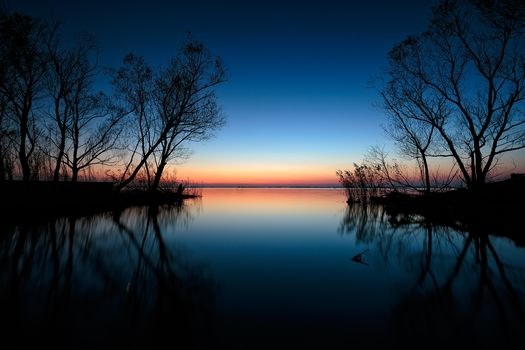 lake, sunset, silhouettes of trees, landscape