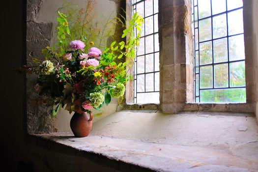 window, vase, bouquet, Flowers