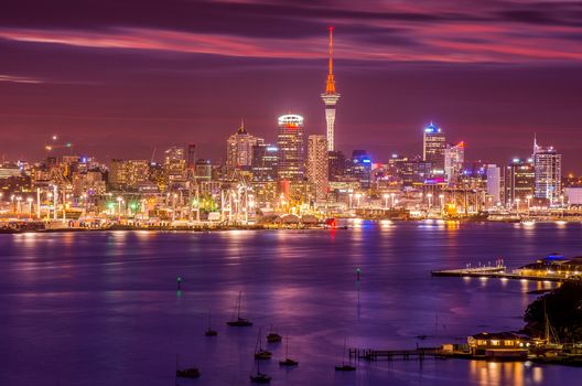 Auckland, New Zealand, city, night, lights