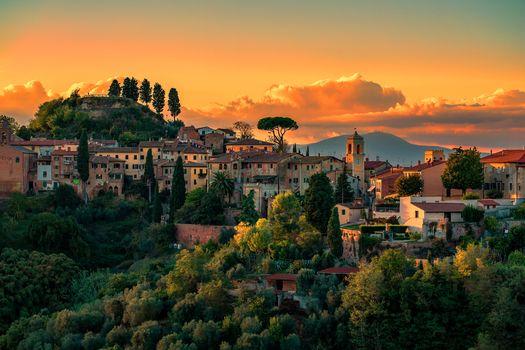 Palaia, İtalya, sunset, city