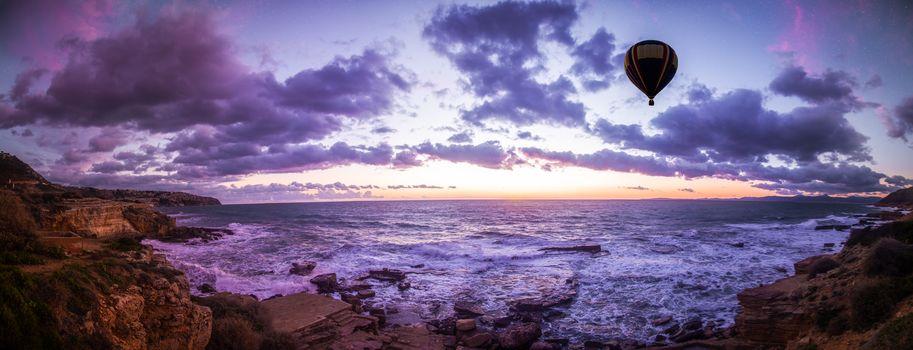 закат, море, волны, пейзаж, панорама