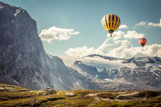 Mountains, Balloons, landscape