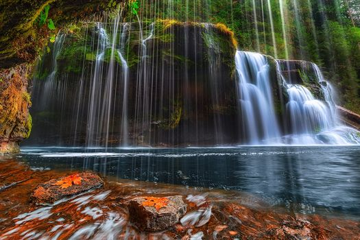 Lower Lewis River Falls, National Forest, Washington State, waterfall, landscape