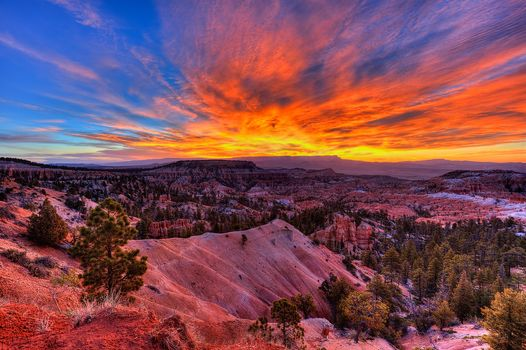 Bryce canyon, sunrise, National Park, Bryce Canyon, US National Parks, It located in southwestern Utah, sunset, Mountains, Rocks, landscape