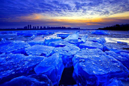ice, winter, sunset, blocks, nature
