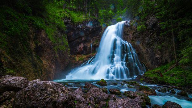 Gollinger Waterfall, Austria, водопад, природа
