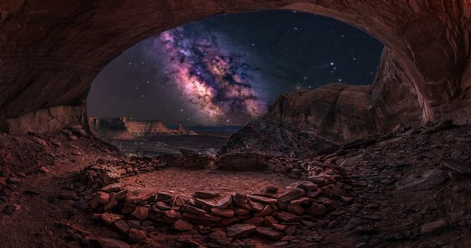 False Kiva, Canyonlands, Milky Way, горы, скалы, арка, ночь, сияние, пейзаж