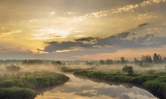 Outback, Nizhny Novgorod Region, Russia, small river, morning, forest, sky, trees, grass, bush