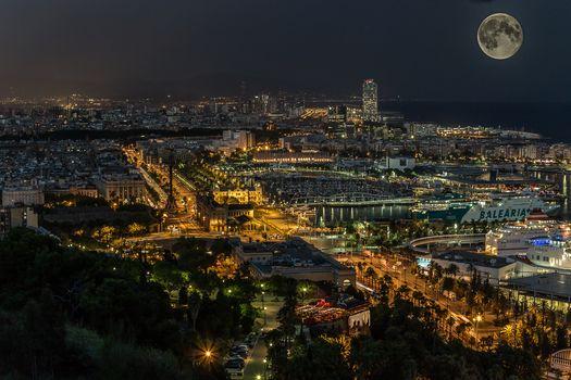 Барселона, Католония, ночь, город, дома, огни, море, Луна, корабли