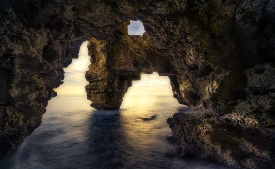 cave, water, sea, nature, rock, stone, light