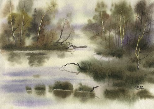 watercolor, landscape, nature, picture, drawing, painting
