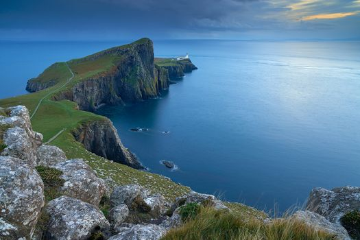 Neist Point, lighthouse, Island of skye, Inner Hebrides, Scotland, GB, sunset, landscape