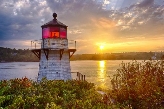 sunset, Squirrel Poin, Kennebec River, Maine, sunset, lighthouse, autumn, river, landscape