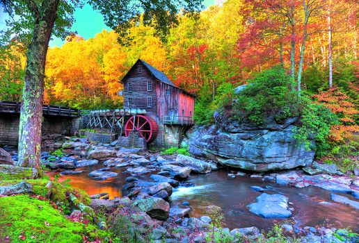 Glade Creek Grist Mill, Babcock State Park, autumn, waterfall, water mill, landscape