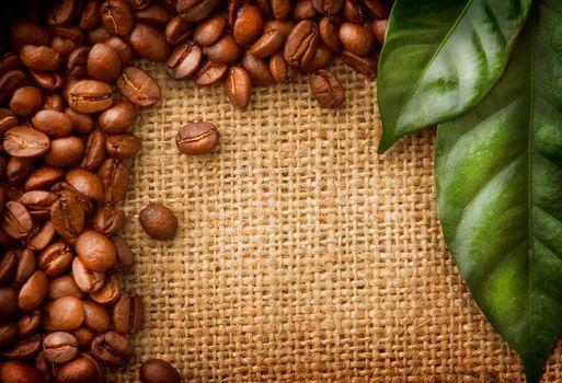 кофе, зёрна, листья