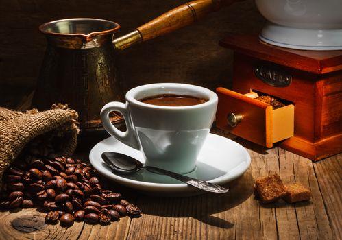 кофе, зёрна, чашка