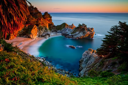 Julia Pfeiffer Burns State Park, Big Sur, California, sunset, landscape