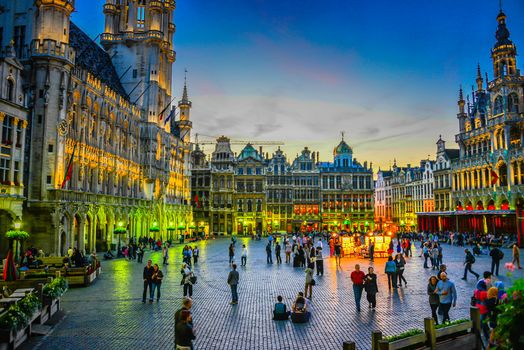 Grand Place, Grote Markt, Brussels, Belgium, night