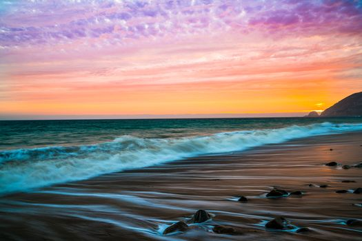 Malibu, sunset, sea, waves, shore, landscape
