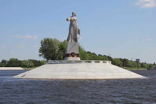 Rybinsk, Russia, statue, monument, Mother Volga, river, water, sky, city, trees, bird, seagull