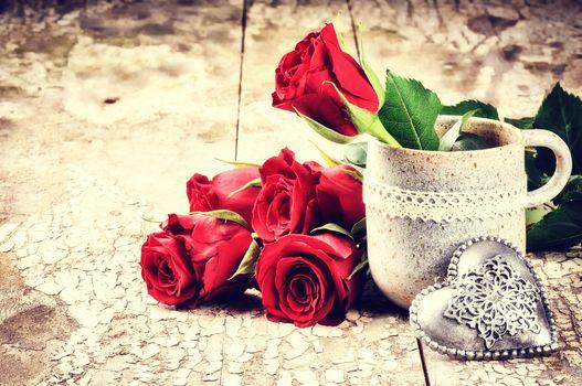 holiday, Valentine, heart, Roses, Flowers, mug