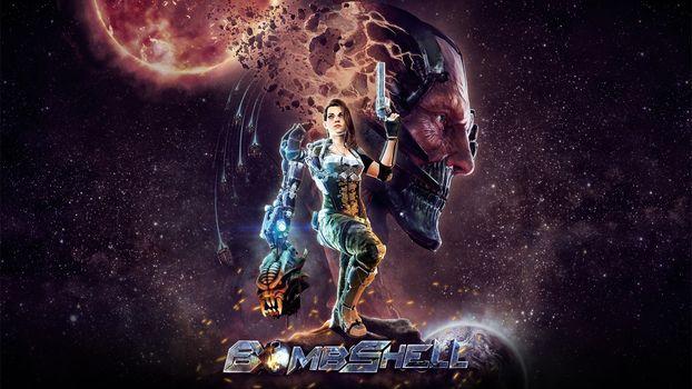 Bombshell, девушка, киборг, голова, планеты, звёзды, космос