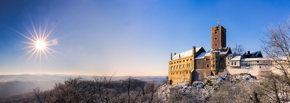 Wartburg Castle, Eisenach, Thuringia, Germany, Thuringian Forest, Wartburg Castle, Eisenach, Thuringia, Germany, Mountains Thuringian Forest, castle, Mountains, sun, panorama