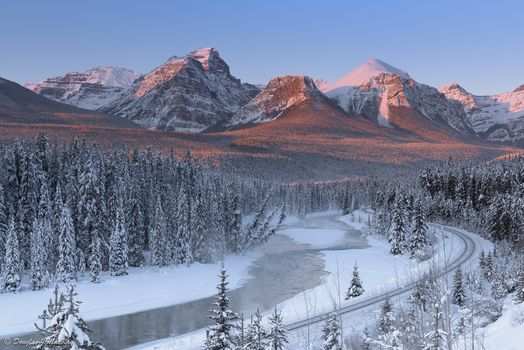 Bow river, Canada, Mountains, river, IRON, road, winter, landscape
