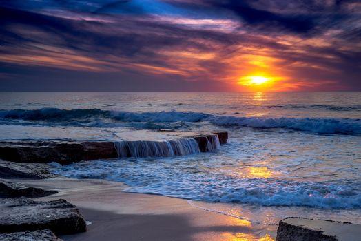 sunset, sea, Rocks, waves, landscape