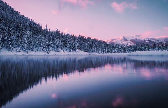 Gold Creek Pond, Hyak, Washington, Giak, Washington, pond, lake, winter, forest, Mountains