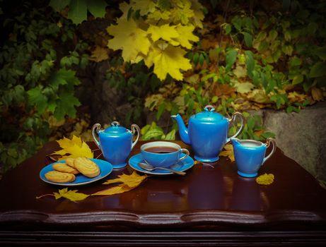 autumn, table, tea-set