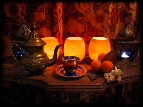 table, lamp, kettle, fruit