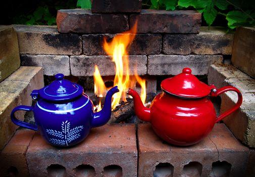 fireplace, kettles, BONFIRE