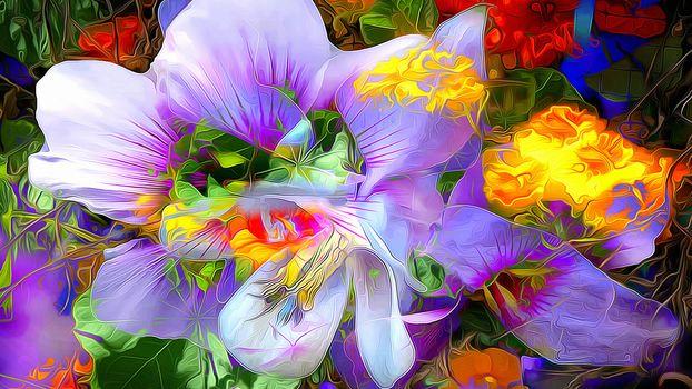 Kisenok рулит, абстракция, цветы, цветочная абстракция, рендеринг, арт, цвета, краски, палитра