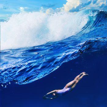 Kisenok рулит, море, океан, вода, волны, рендеринг, девушка
