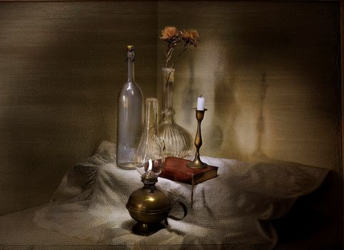 lamp, candle, book, bottle, vase, still life