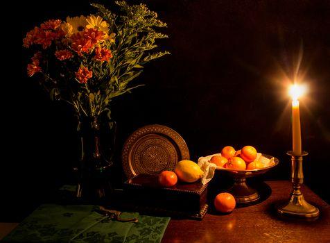 candle, vase, Flowers, fruit, still life