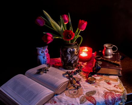 candle, vase, Flowers, fruit, book, owl, still life