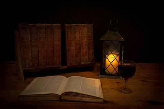 book, candle, lantern, still life